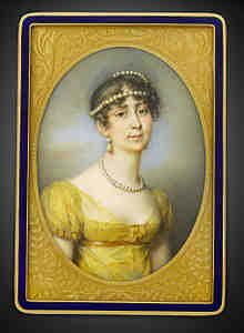 josephine, portrait, gold, box